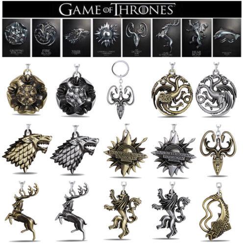 Game of thrones Lannister Targaryen House Stark  Keychains Key Ring Keyfob US