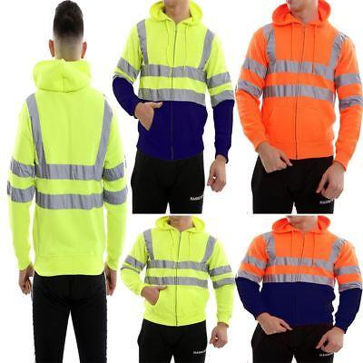 Warnen Hi Vis Viz Zip Up Fleece Hooded Hoodie Jacket Mens High Visibility Sweatshirt