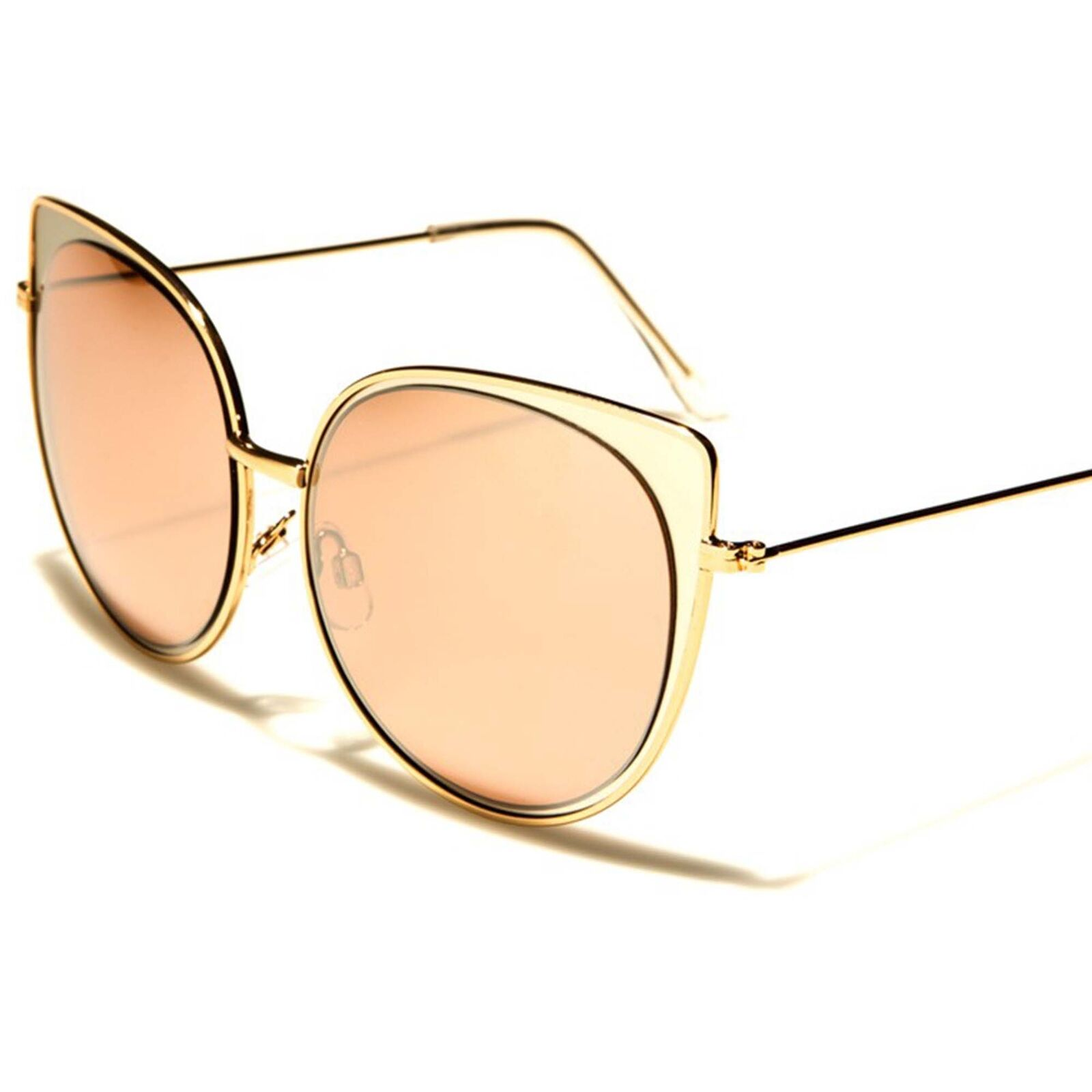 Celebrity Fashion Designer Upscale Mirrored Lens Gold Womens Cat Eye Sunglasses