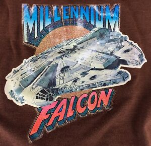 1980-STAR-WARS-Vintage-T-SHIRT-Millennium-Falcon-Kids-Sz-L-Iron-On-Glitter-SOLO