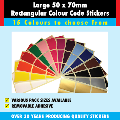 Sticky Address Labels Coloured Stickers Extra Large 50 x 70mm Rectangular
