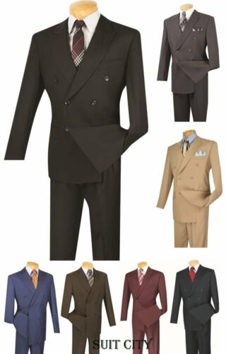 Mens Suit Classic Fit Double Breasted Solid Black Beige Blue Brown Burgundy Gray