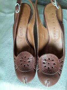CHIE-MIHARA-PERFORATED-BROWN-LEATHER-SLING-BACK-SHOES