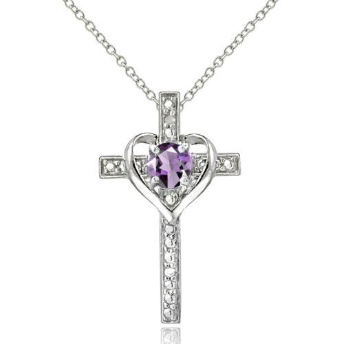Argent Sterling Améthyste /& Diamant Accent Croix Collier Coeur