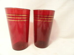 2-Ruby-Depression-Glass-Tumblers-Gold-Rings-4-3-4-Inch