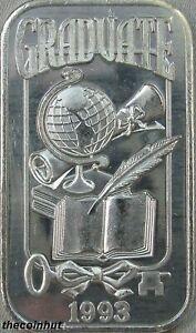 1-oz-999-Fine-Vintage-1993-Graduation-Globe-Rare-Silver-Art-Bar-CH5169