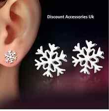 925 Snowflake Silver Stud Earrings Present Xmas Gift Secret Santa Christmas Uk