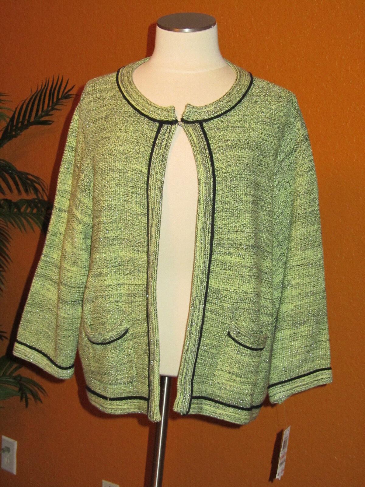 STYLE & CO NWT  99 2X schwarz e light Grün damen autodigan sweater blazer
