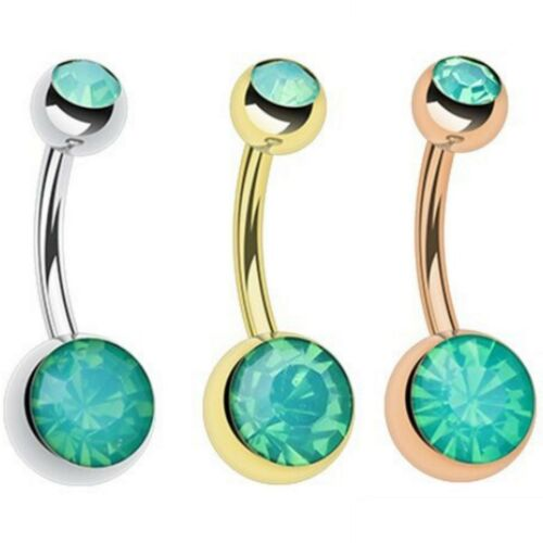 MINT GREEN OPALITE DOUBLE JEWELED BELLY BUTTON NAVEL PIERCING NON-DANGLE 14G 3//8