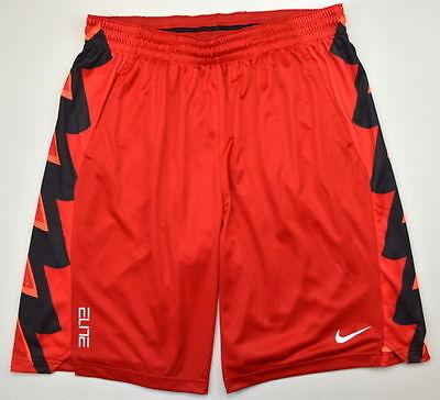 NIKE MEN/'S ELITE BOLT GRAPHIC BASKETBALL SHORTS L LARGE LG 682989 657 RED BLACK