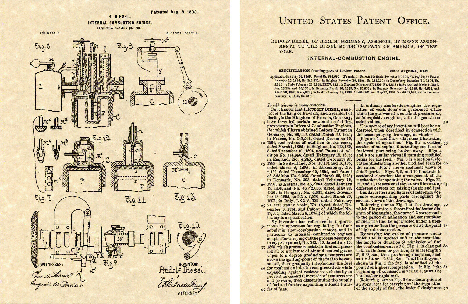 Diesel Engine Us Patent 1898 Art Print Ready To Frame Rudolph 6 9 Diagram Norton Secured Powered By Verisign