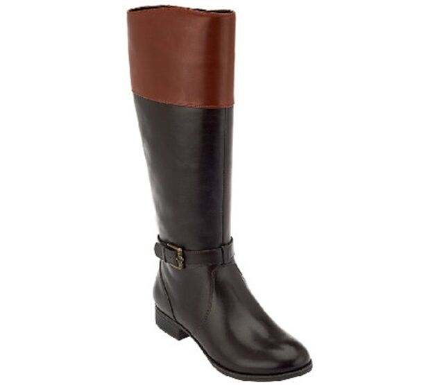 Isaac Mizrahi Live  Two-Tone Leather Riding Boot PICK SIZE SIZE SIZE COLOR Alysa new 8162ee