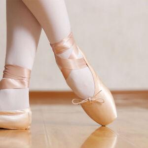 NEW-Women-039-s-Professional-Satin-Ballet-Pointe-Shoes-Ribbon-Toe-Dance-Shoes-All-SZ