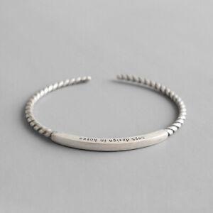 3mm-Retro-Girls-Genuine-S925-Sterling-Silver-Rope-Tube-Opening-Bracelet-Bangle