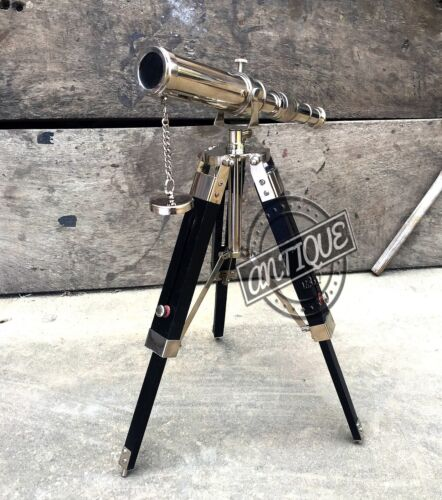 Table Decor Black Tripod with Telescope Stand Silver Christmas Antique