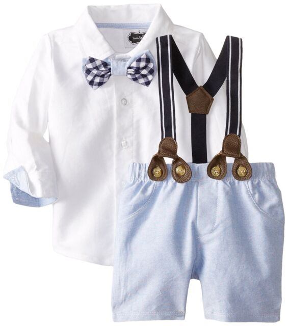 Mud Pie Baby Boys Blue Chambray Easter Suit  Short Set with Bow Tie NWT