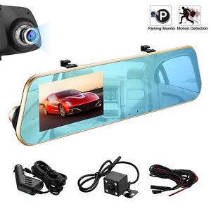 "Dual Lens 4.3"" Camera HD Car DVR Dash Cam Video Recorder Rear Mirror G-Sensor"