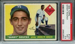 1955 Topps Baseball | Sandy Koufax ROOKIE RC Card # 123 | PSA 3.5 VG