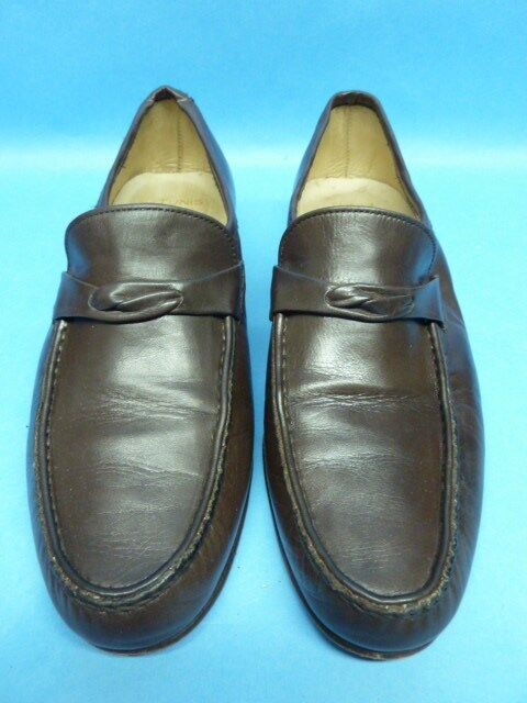 Bally Brown Loafers Mens 6.5 M Quality Italian Leather shoes