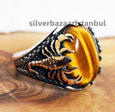 Ancient Sizable Brown Tiger Eye Sterling Silver Overlay Ring Size 6.5 US Handmade Jewelry
