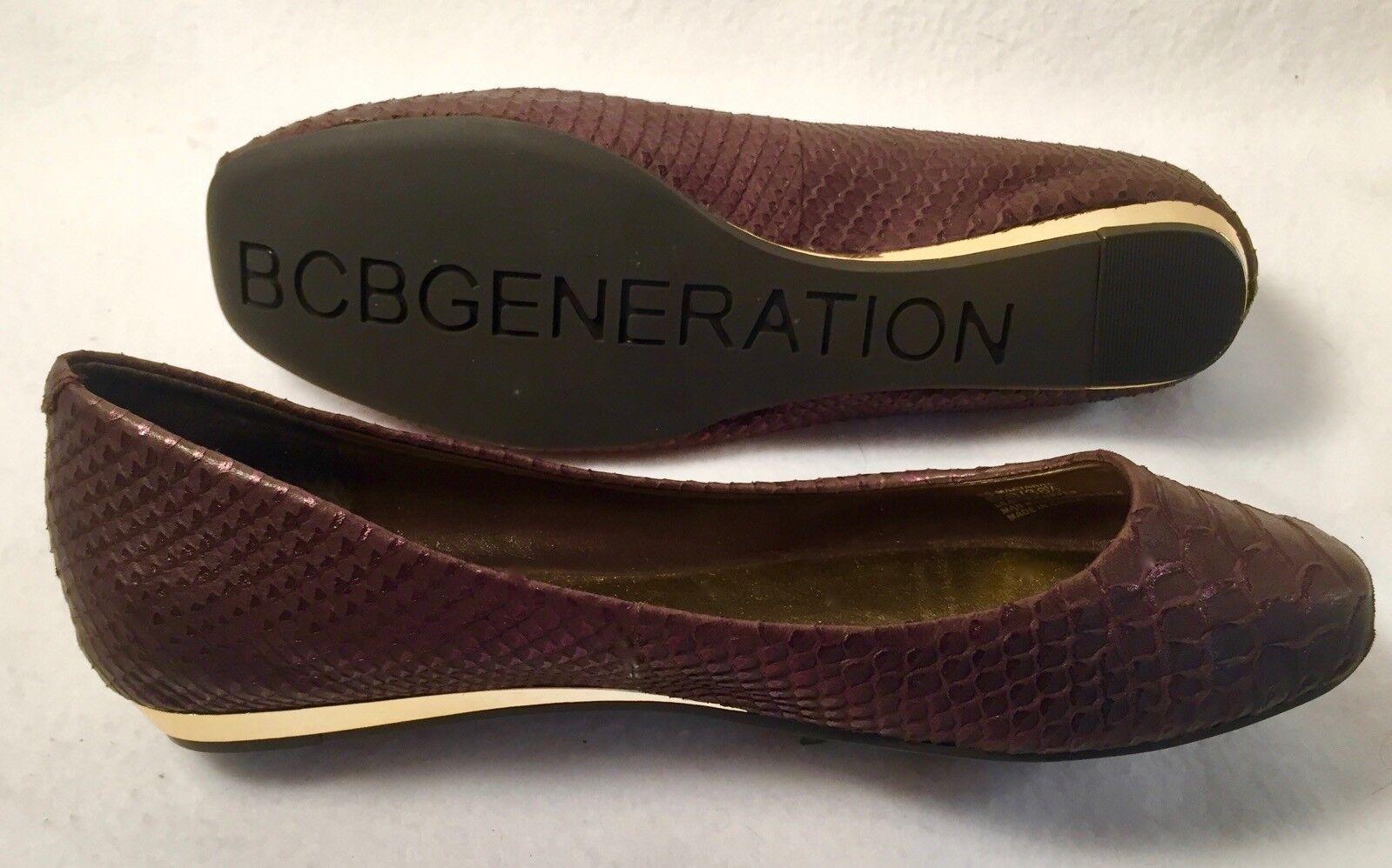 Women's BCBGeneration 'Maryanna' brown leather Snakeskin print Ballet flats 6B