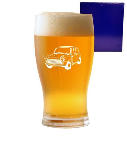1 Pint Tulip Beer Glass With Classic Mini Cooper Design and Gift Box