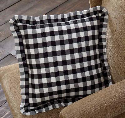 ANNIE BUFFALO GREY CHECK Fabric Throw Pillow Primitive Farmhouse Cotton VHC