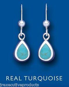 turquoise-boucles-d-039-Oreilles-Goutte-Argent-Sterling-naturel-poire