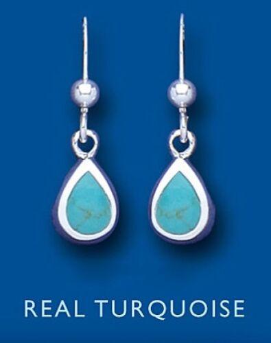 Real Turquoise Silver Earrings Pear Drop Drops 925 hallmark