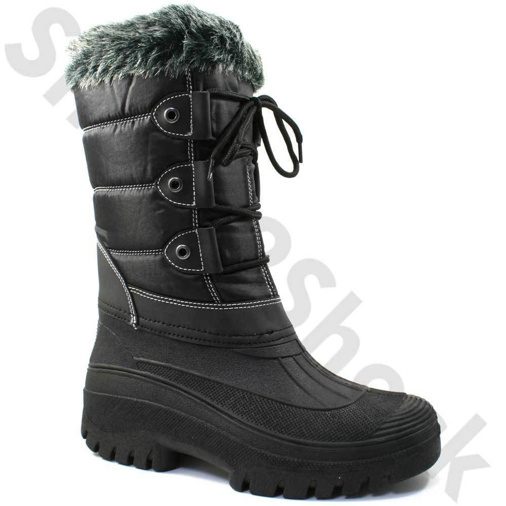 LADIES SNOW WINTER MUCKER BOOTS SIZE UK 3 - 8 WARM THERMAL LINED BLACK W256A