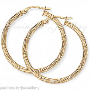 9ct-Gold-Creole-Hoop-28mm-Twisted-earrings-Gift-Boxed-Birthday-Gift