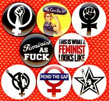 Feminist x 8 pins buttons badge rosie the riveter womens movement liberation lib