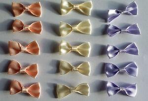 10-Satin-Schleifen-aus-Satinband-rosa-creme-oder-flieder-Schleifchen