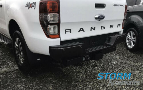 FORD RANGER T6 2012-2019 REPLACEMENT REAR BUMPER WITH SENSOR HOLES IN BLACK