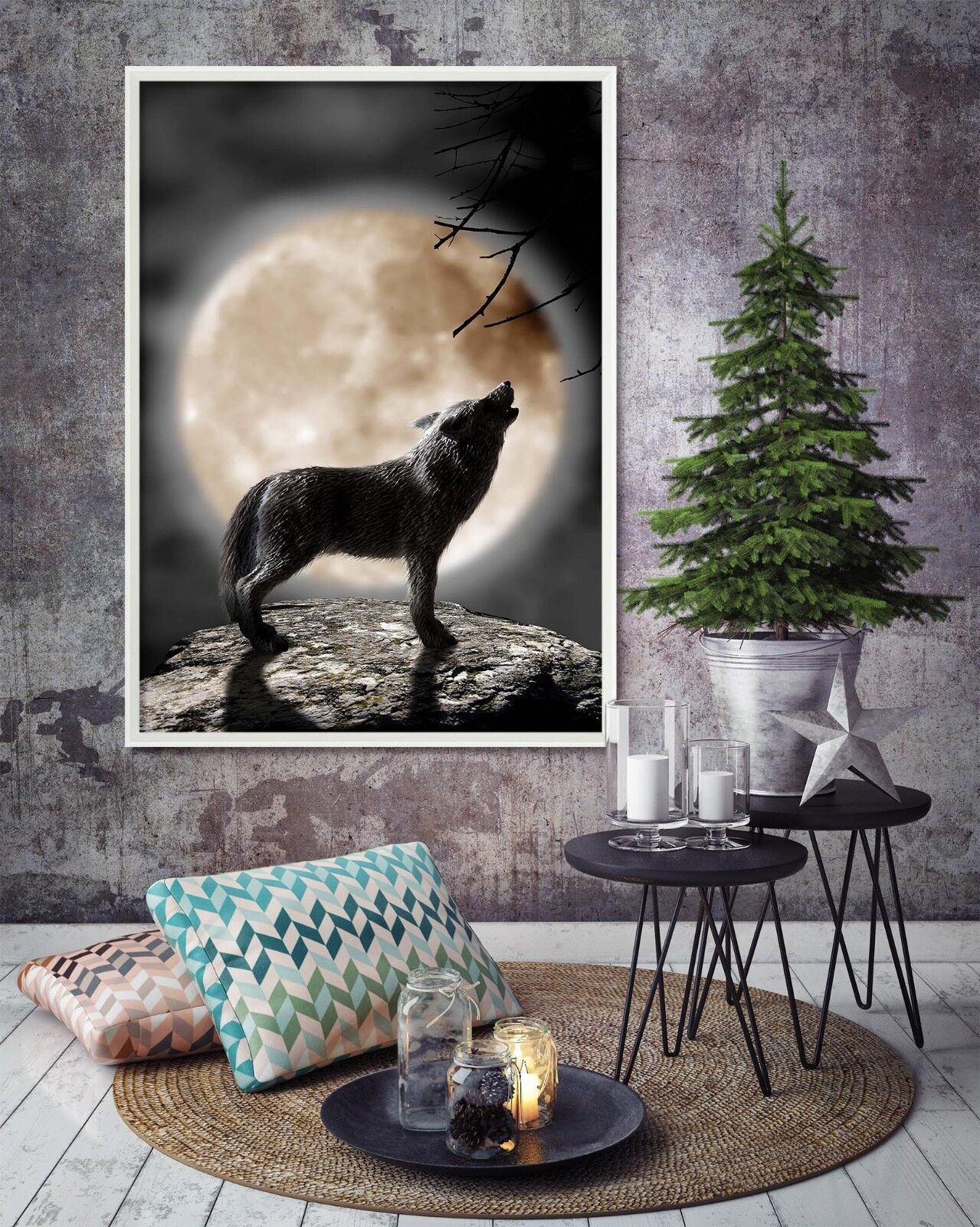 3D Moon Wolf Cliff 21 Framed Poster Home Decor Print Painting Art AJ WALLPAPER