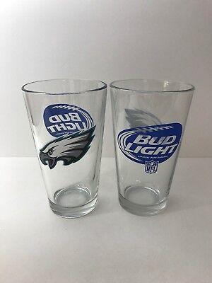 Brand New! 4 Bud Light Philadelphia Eagles Set Of 16 oz Pint Beer Glasses