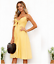 Women/'s Midi Dress Tie Front V-Neck Spaghetti Strap Button Down A-Line Backless