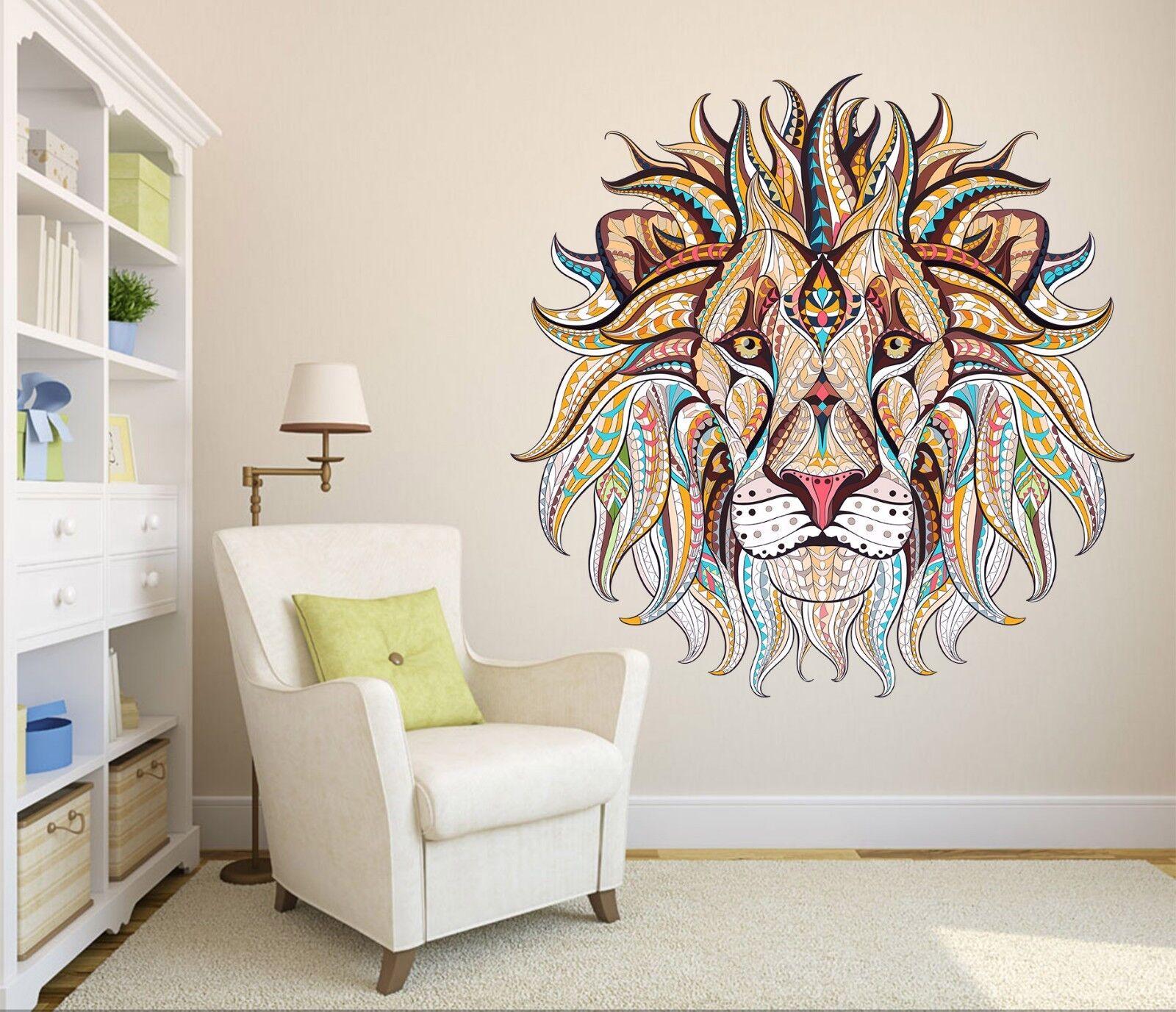 3D Abstract Lion Paint 4 Wallpaper Mural Floor Wall Print Decal Wall Sticker UK