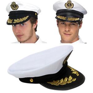 CAPTAIN HAT WHITE SATIN YACHT BOAT NAVY UNISEX SAILOR COSTUME CAP·DRESS Pro
