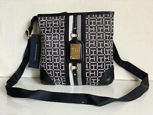 NEW! TOMMY HILFIGER BLACK NATURAL CROSSBODY MESSENGER SLING BAG PURSE $68 SALE
