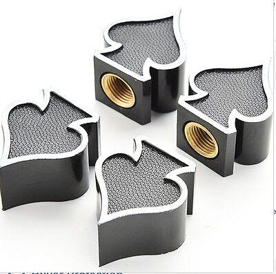 Ace of Spades Rock Black Wheel Car Tyre Valve Dust Caps x4 BMX DUB Poker Cards