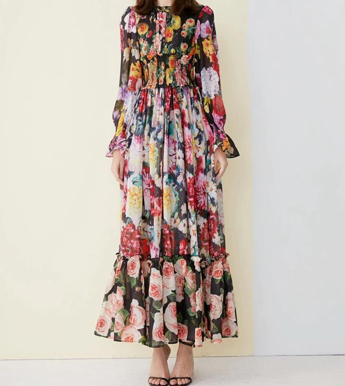 PGM 2019 qualité mode Femme hommeches longue Floral Imprimé Robe longue grande taille