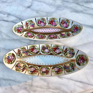 Vintage Porcelain Oval Olive Dish Fragonard Love Story by Arnart Creation a Pair