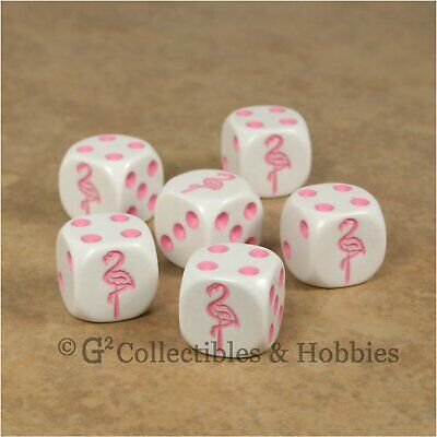NEW 5 White Dice with Pink Flamingo Dice Set 6 Sided Bunco RPG Game D6 16mm Roll