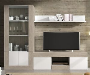 Detalles de Pack muebles modulares salon comedor estilo moderno Mesa TV  Libreria y Estante