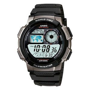 New-Casio-AE-1000W-1BV-Multi-Time-Stopwatch-World-Time-LED-Black-Resin-Watch