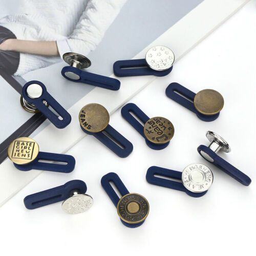 Adjustable Disassembly Retractable Jeans Waist Extension Button Metal Buckle Acc