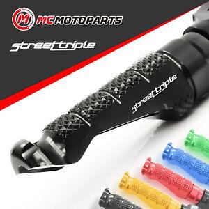 MC Motoparts MPRO Black CNC Rider Foot Pegs For Triumph Street Triple 675 R 07-17 Speed Triple 1050 R 955i 99-04