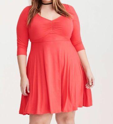 NWT TORRID Red Jersey Knit 3/4 Sleeve Sweetheart Skater Dress Plus Size 2X    eBay