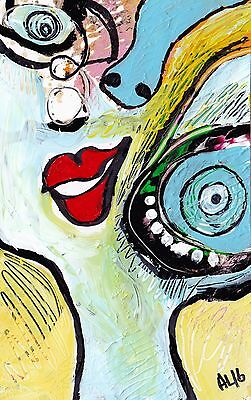 Original LABEDZKI abstract figurative painting  art BIGGEST EYEBALL IN THE WORLD